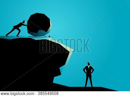 Business Concept Illustration Of A Businessman Trying To Eliminate Other Businessman With Big Rock