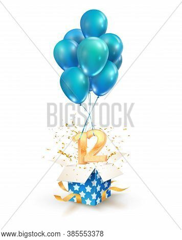 12th Years Celebrations. Greetings Of Twelve Birthday Isolated Vector Design Elements. Open Textured