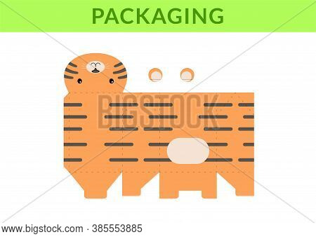 Adorable Diy Party Favor Box For Birthdays, Baby Showers With Cute Tiger For Sweets, Candies, Small