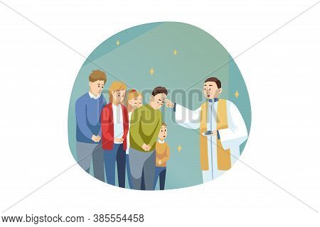 Religion, Holiday, Bible, Celebration Concept. Young Man Guy Priest Receiveing Communion Of People M
