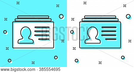 Black Line Resume Icon Isolated On Green And White Background. Cv Application. Searching Professiona