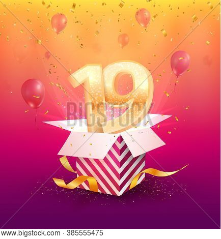 19 Th Years Anniversary Vector Design Element. Isolated Nineteen Years Jubilee With Gift Box, Balloo