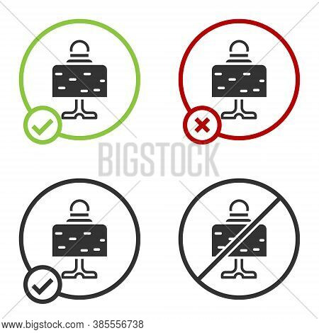 Black Magic Ball On Table Icon Isolated On White Background. Crystal Ball. Circle Button. Vector