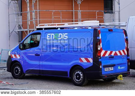 Bordeaux , Aquitaine / France - 09 01 2020 : Enedis Edf Logo And Text Sign On Blue Van Truck Of Fren