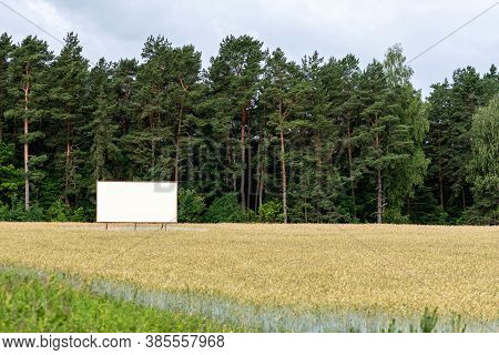 Large Empty Billboard For Outdoor Advertising On The Highway, Empty Billboard In Nature By The Roads