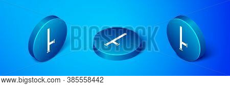 Isometric Police Rubber Baton Icon Isolated On Blue Background. Rubber Truncheon. Police Bat. Police