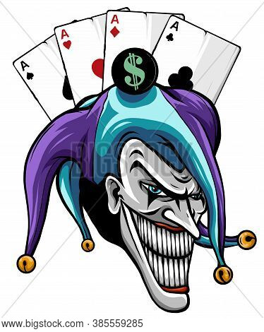 Laughing Angry Joker, Character, Joker Head, Face Horror And Crazy Maniac, For Your Design, Vector I