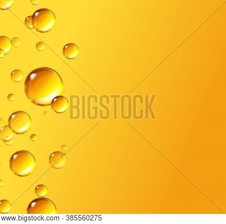 Oil Gold Bubbles Isolated On Yellow Background. Cosmetic Pill Capsule Of Vitamin E, A. Vector Realis
