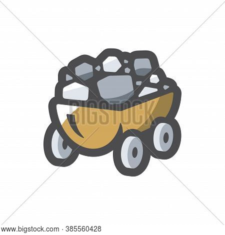 Coal Wagon Ore Cart Vector Icon Cartoon Illustration