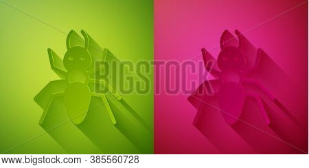 Paper Cut Ant Icon Isolated On Green And Pink Background. Paper Art Style. Vector