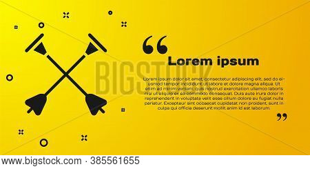 Black Arrow With Sucker Tip Icon Isolated On Yellow Background. Vector