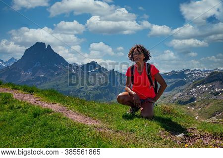 An Hiker Woman With Pic Du Midi Ossau In The French Pyrenees