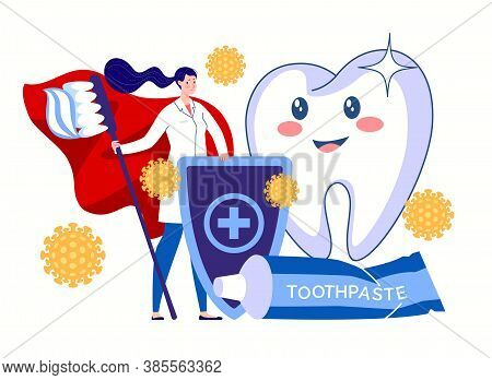 A Dental Hygienist, A Hero In A Red Cloak With A Toothbrush And Toothpaste, Stands Guard For The Hea