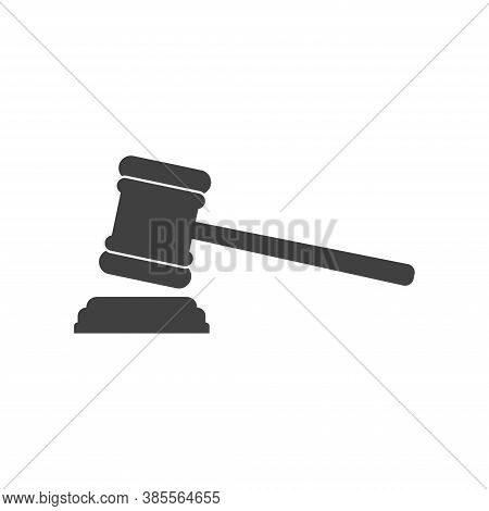 Judge Hammer Vector Icon. Hammer Court Icon Vector. Law Icon In Trendy Flat Style Isolated On Grey B