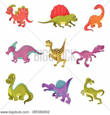 Funny Dinosaurs As Ancient Reptiles Isolated On White Background Vector Set