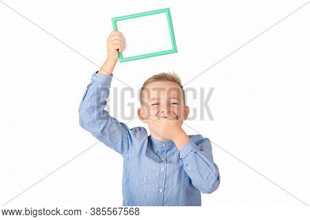 The Mouth Covered Caucasian Schoolboy In Shirt Posing On White Studio Isolated Background. People Li