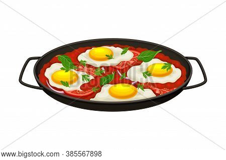 Shakshuka Dish Of Poached Eggs In Tomato Sauce Served In Cast Iron Pan Vector Illustration