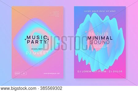 Music Fest Set. Fluid Holographic Gradient Shape And Line. Minimal House Party Presentation Template
