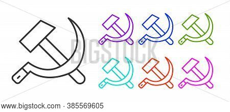 Black Line Hammer And Sickle Ussr Icon Isolated On White Background. Symbol Soviet Union. Set Icons