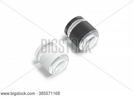 Blank Glass Jar With Black And White Label Mockup Lying, 3d Rendering. Empty Canned Or Conservation