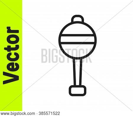 Black Line Rattle Baby Toy Icon Isolated On White Background. Beanbag Sign. Vector