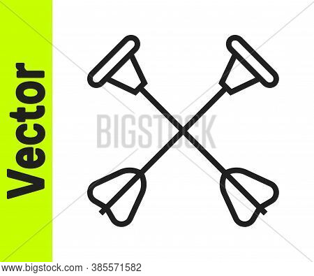 Black Line Arrow With Sucker Tip Icon Isolated On White Background. Vector