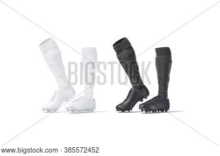 Blank Black And White Soccer Boots With Socks Tiptoe Mockup, Half-turned View, 3d Rendering. Empty S
