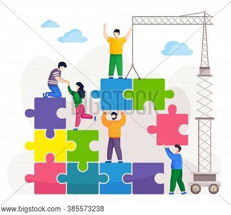 People Connecting Pieces Of Huge Puzzle With Crane Or Lift. Joint Work At Business Project, Teamwork