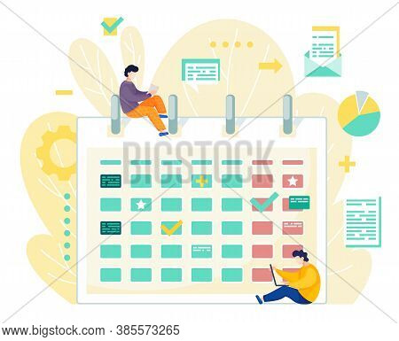 Two Men Effectively Organizing Office Time At Work. Concept In Flat Vector Style Of Calendar, Planni