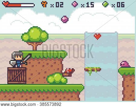Pixel Art Style, Character In Game Arcade Play. Man With Sharp Sword And Shield Fighting Against Mon