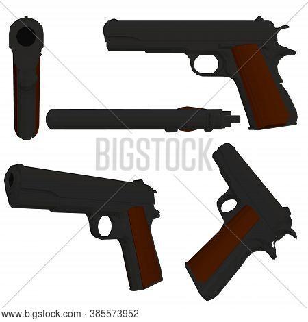 Set With A Low Poly Pistol Colt 1911.3d. Vector Illustration