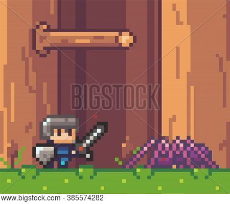 Pixel Art Style, Character In Game Arcade Play Vector Illustration. Man With Sharp Sword Fighting Ag