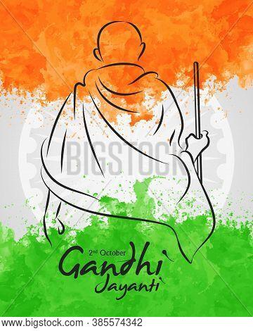 Vector Illustration Of Poster Or Banner Design For Celebration Of Happy Gandhi Jayanti. 2nd October,