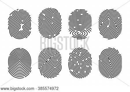 Black Detailed Fingerprints Flat Illustration Set. Police Electronic Scanner Of Thumb Print For Crim