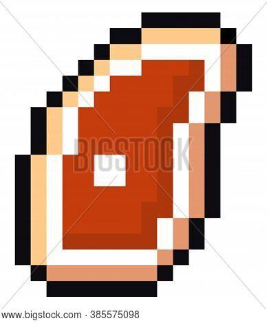 Slice Meat Pixel Art. Pork On Bone 8 Bit. Vector Piece Of Beef Beefsteak. Old School Games Graphics.