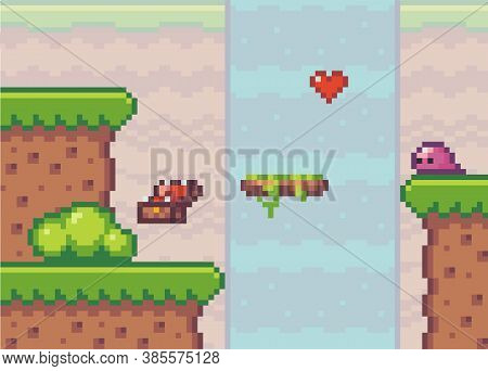 Pixel Art Game Background With Heart Near The Waterfall. Game Scene With Green Grass Platform Stands
