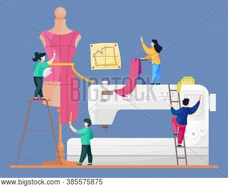 The Concept Of Tailoring Fashionable Clothes. A Team Of Seamstresses Is Working On A Model Of A New