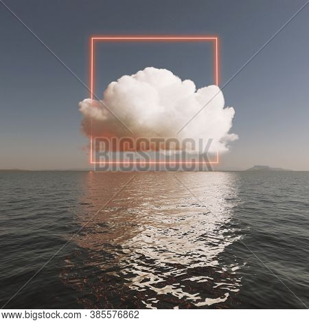 Cloud with glowing mystical neon beam above sea surface. 3D illustration, rendering.