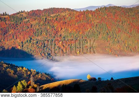 Morning Rural Landscape In Mountains. Beautiful Countryside Scenery In Autumn Season. Distant Valley