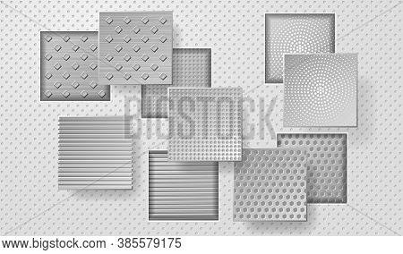 Geometric Layered Background. Square Shapes On The White Embossed Background. Vector Eps10