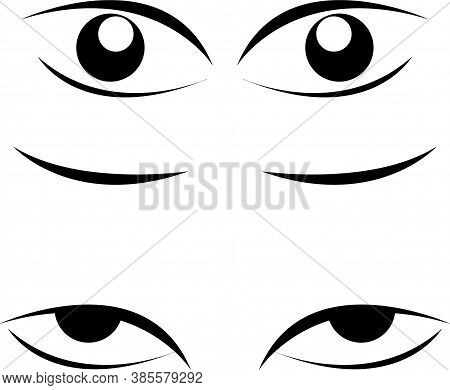 Eye For Cartoon Animation White Background. Eyes Icon Design.open And Closed Eyes Images, Sleeping E
