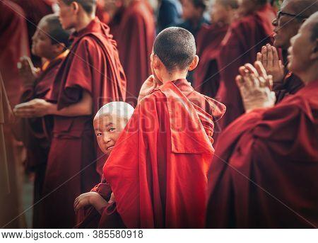 Choglamsar, India - August 19: Monks And Nuns At Dalai Lama 14th Sermon On August 19, 2016 In Chogla