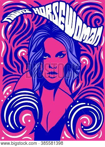 The Horsewoman Psychedelic Vintage Poster Or Card Design In Retro Style, Colored Vector Illustration