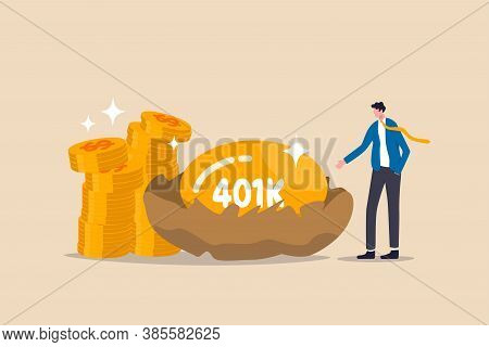 Retirement 401k Investment, Tax Defer Mutual Fund For Salary Man Financial Success Concept, Happy Yo