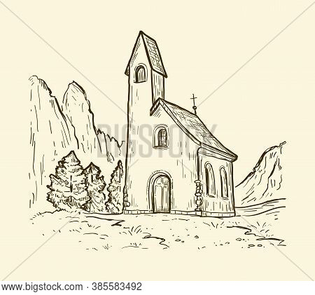 San Maurizio Chapel On The Gardena Pass. Sketch Hand Drawn Vector Illustration With Church On The Mo