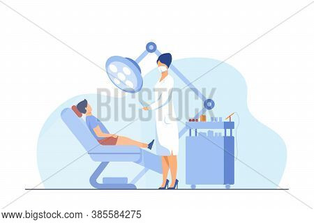 Female Dentist Curing Boy In Chair. Tooth, Treatment, Toothache Flat Vector Illustration. Stomatolog