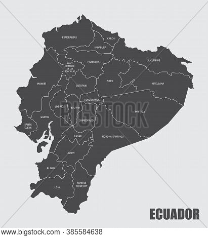 The Ecuador Map Divided In Provinces With Labels