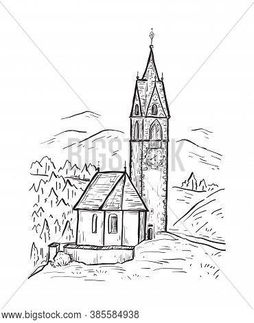 Santa Barbara Chapel In The Village Of La Valle, Alta Badia. Italy, Europe. South Tyrol. Sketch Hand