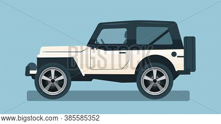 Suv Car Isolated. Car Side View. Vector Flat Style Illustration.