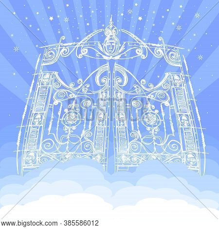 Vector Heavenly Gates In Eden. Gate To Paradise In Clouds. Entrance To The Kingdom Of Heaven. Gods D